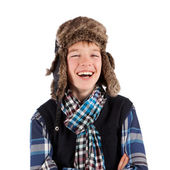 Portrait of teenager wearing fur hat — Stock Photo