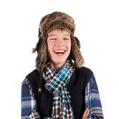 Portrait of teenager wearing fur hat — Stock Photo