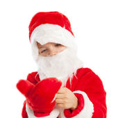 Small boy dressed as Santa Claus, isolation — Stock Photo