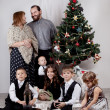 Portrait of large family near Christmas tree, christmas — Stock Photo
