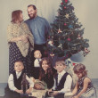 Portrait of large family near Christmas tree, christmas - 图库照片