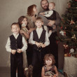 Portrait of large family near Christmas tree, christmas - Stockfoto