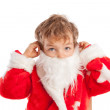 Small boy dressed as Santa Claus, isolation - Stockfoto