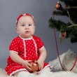 Little girl in red dress sitting near Christmas tree — Stock Photo #15619999