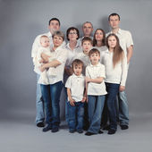 Large family portrait, studio — Stock Photo