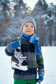 Portrait of boy with skates, winter — Stock Photo