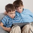 Stock Photo: Two brothers playing on tablet