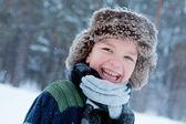 Portrait of boy wearing scarf, winter — Stock Photo