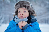 Portrait of boy in winter time — Foto Stock