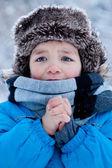Portret van de jongen in de winter — Stockfoto