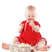 Baby girl and her birthday cake. — Stock Photo