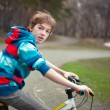 Portrait of serious boy with bicycle in park — Stock Photo #24764563