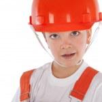 Portrait of boy in orange helmet, isolation — Stock Photo #26173113