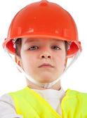 Portrét chlapce v oranžová helma, izolace — Stock fotografie