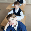 Diligent student sitting at desk, classroom — Stock Photo