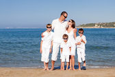 Young family with three kids on vacation — Stock Photo