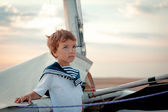 Portrait of young sailor near yacht — Stock Photo