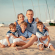 Portrait of happy family near yacht — Stock Photo #31000091