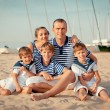 Stock Photo: Portrait of happy family near yacht