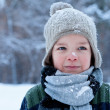 Portrait of little boy in winter time — Stock Photo