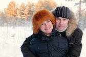 Portrait of happy couple on walk — Stockfoto