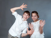Portrait of cheerful young people — Stock Photo