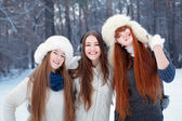 Portrait of three beautiful girls in winter park — Stok fotoğraf