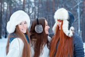Portrait of three beautiful girls in winter park — Foto Stock