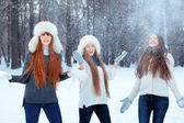 Portrait of three beautiful girls in winter park — Stockfoto
