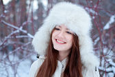 Portrait of beautiful girl in park — Stok fotoğraf