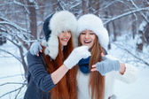Portrait of two beautiful girls in winter park — Stok fotoğraf