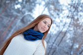 Portrait of beautiful girl in park — Stock Photo