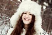 Retrato de menina bonita no parque — Foto Stock