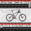 Stock Vector: High detailed scheme of full suspension MTB