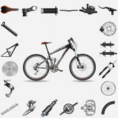Bicycle with parts — Stockvector