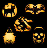 Set of Jack'O Lanterns — Stock vektor