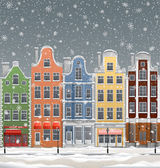 Europen town at winter — Stock Vector