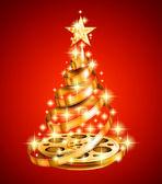 Golden film strip christmas tree — Stock Vector