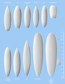 Set of white clean surfboards. — Stock Vector