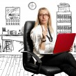 Business Woman In Chair - Stock Photo