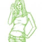 Sketch Cute Woman Shows OK — Stock Vector #12832113