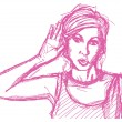 Sketch woman overhearing something — Image vectorielle