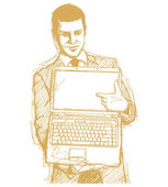 Sketch Businessman With Open Laptop In His Hands — Stock vektor