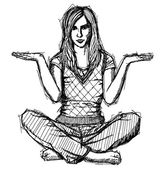 Sketch woman in lotus pose with open hands — Stockvector