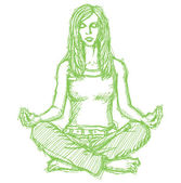 Sketch woman meditation in lotus pose — Stock Vector