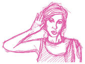 Sketch woman overhearing something — Vector de stock