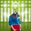 Lamp Head Man With Laptop — Stock Photo #13291196