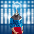Lamp Head Man With Laptop — Stock Photo #13291231