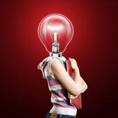 Empresária cabeça de lâmpada com laptop — Foto Stock