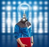 Lampa huvudet mannen med laptop — Stockfoto